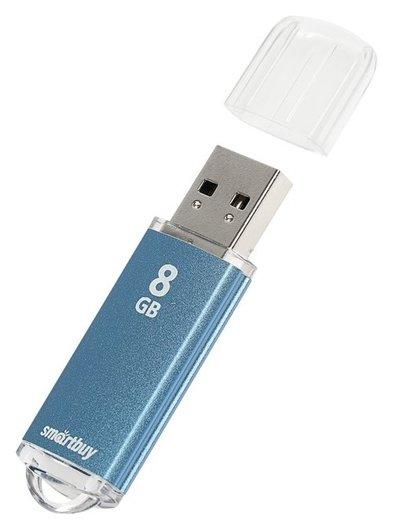 Флешка Smartbuy V-cut, 8 Гб, Usb2.0, чт до 25 мб/с, зап до 15 мб/с, синяя  Smartbuy