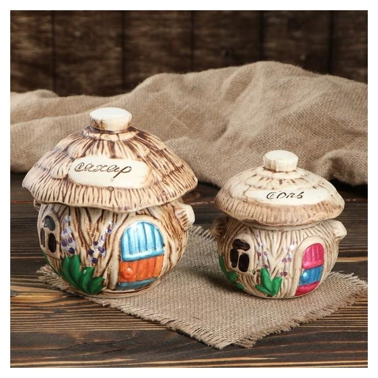 """Набор для специй """"Домик лесной"""" 2 предмета, 0,7 л, 0,3 л  Керамика ручной работы"""