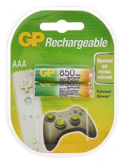 Аккумулятор GP, Ni-mh, Aaa, Hr03-2bl, 1.2в, 850 мач, блистер, 2 шт.  GР