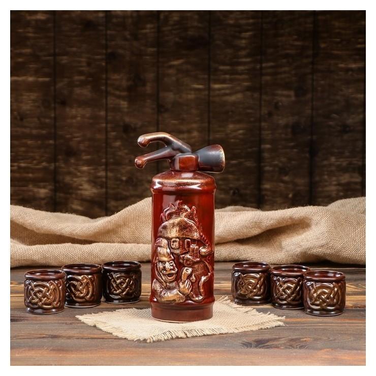 """Набор для вина """"Огнетушитель"""", 7 предметов, штоф 0.8 л, 6 рюмок 0.1 л  Керамика ручной работы"""