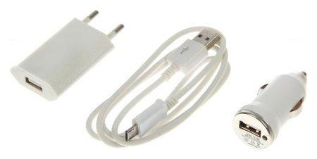 Комплект для зарядки 3 в 1 Luazon, модель Uc-09, АЗУ 1 A, Micro Usb, 1 A, 1 м, СЗУ 1A, белый  LuazON