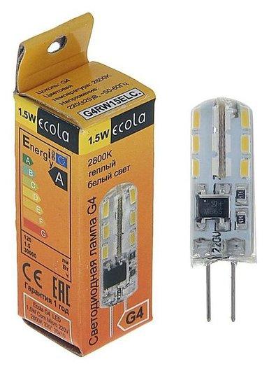 Лампа светодиодная Ecola, 1.5 Вт, G4, 2800 K, 320°, 35х10 мм  Ecola