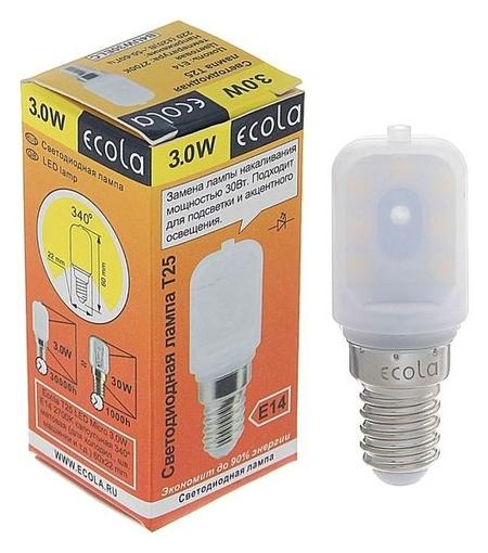 Лампа светодиодная Ecola, T25, 3 Вт, E14, 2700 К, 340°, для холодильников и швейных машин  Ecola