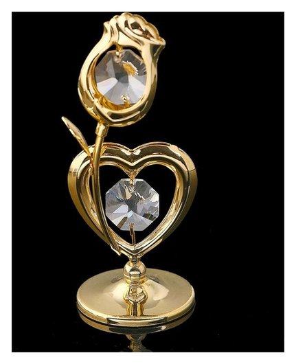 Сувенир «Сердце с цветком», 3х3х8 см, с кристаллами сваровски  Swarovski Elements