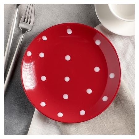 Тарелка десертная «Красный горох», 19 см, цвет красный Доляна