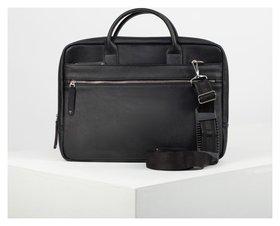 Сумка мужская, отдел на молнии, 3 наружных кармана, длинный ремень, цвет чёрный Алекс
