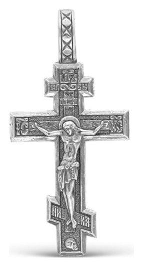 Крест нательный шестиконечный, посеребрение  Красная пресня