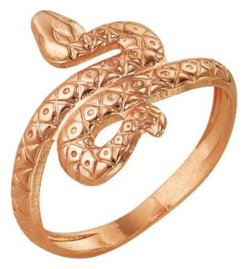 """Кольцо позолота """"Змея"""", 16,5 размер  Красная пресня"""