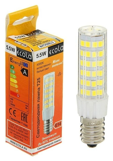 Лампа светодиодная Ecola, T25, 5.5 Вт, E14, 4000 K, 340°, для холодильников и швейных машин  Ecola
