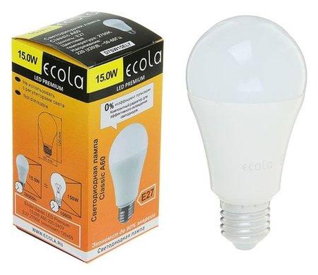 Лампа светодиодная Ecola, а60, 15 Вт, е27, 2700 К, 120 х 60 мм, матовый шар  Ecola