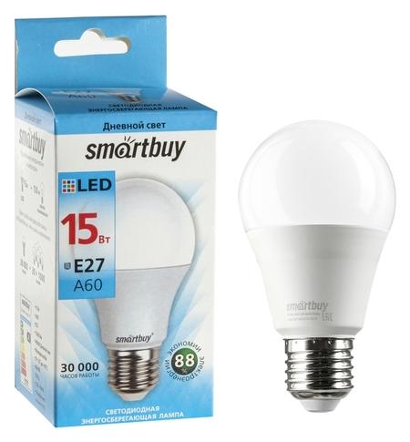 Лампа Cветодиодная Smartbuy, A60, E27, 15 Вт, 4000 К, дневной белый свет  Smartbuy