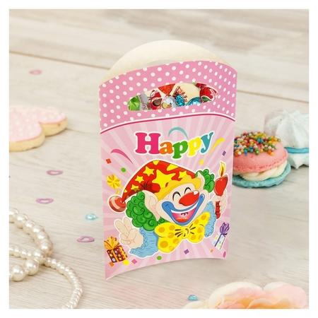 Пакет подарочный «Клоун», со свечой, 14х24 см, розовый цвет, набор 6 шт.  Страна Карнавалия
