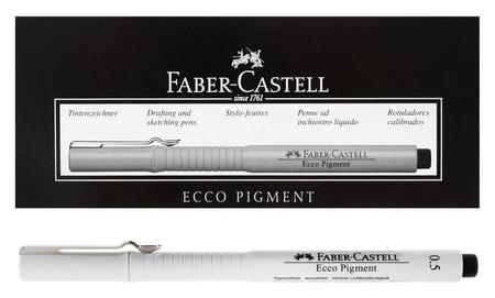 Ручка капиллярная для черчения и рисования Faber-castell линер Ecco Pigment 0.5 мм, пигментная, черный 166599  Faber-castell