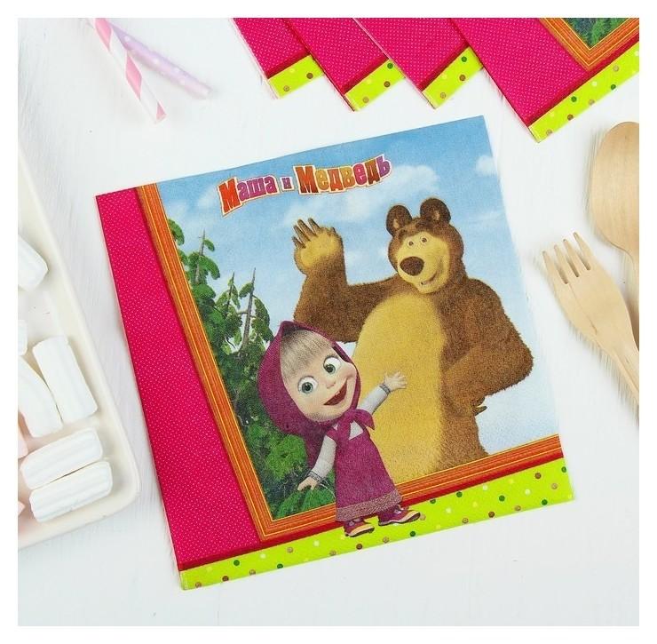 Бумажные салфетки «Маша и медведь», 33 см, набор 12 шт.  Веселая затея