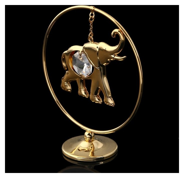 Сувенир «Слон в кольце», 3×7×8 см, с кристаллом сваровски Swarovski