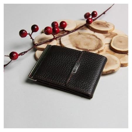 Зажим для купюр, отдел для монет, карт, флотер, цвет коричневый  Максим