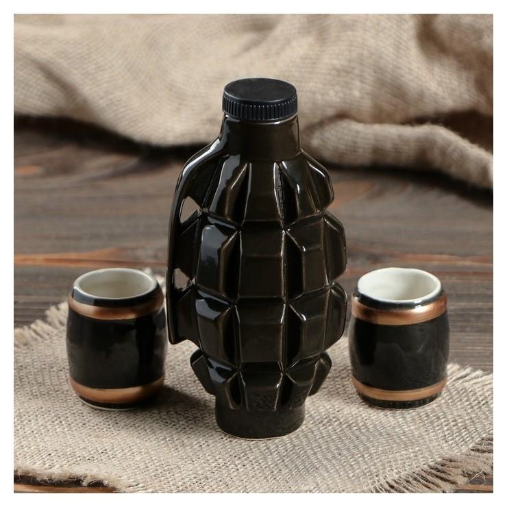 """Набор для коньяка """"Граната ф1"""", 3 предмета в наборе, 0,2 л/0.05 мл  Керамика ручной работы"""