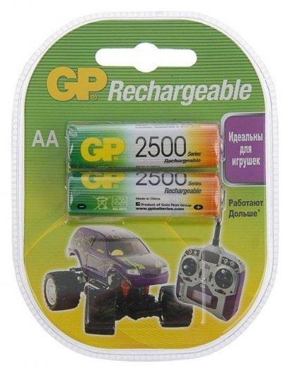 Аккумулятор GP, Ni-mh, AA, Hr6-2bl, 1.2в, 2500 мач, блистер, 2 шт.  GР