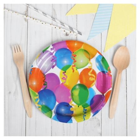 Тарелка бумажная «Воздушные шарики», набор 6 шт., 18 см  Страна Карнавалия