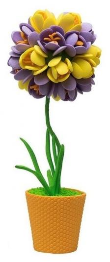 """Набор для творчества топиарий малый """"Крокусы"""", фиолетовый/жёлтый, 13 см  Волшебная мастерская"""
