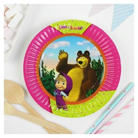 Тарелка бумажная «Маша и медведь», 17см, набор 6 шт.  Веселая затея