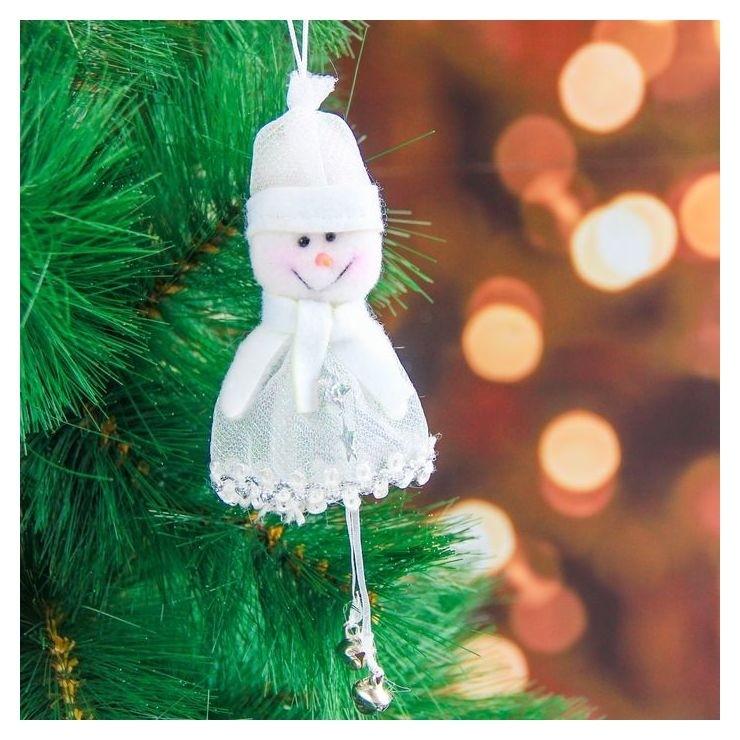 """Мягкая подвеска """"Снеговик - воздушный наряд"""" 10 см белый  Зимнее волшебство"""