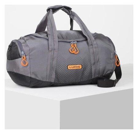 Сумка спортивная, отдел на молнии, 2 наружных кармана, длинный ремень, цвет серый/оранжевый  Luris