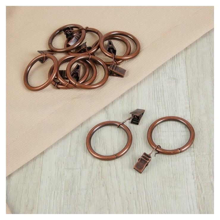Кольцо для карниза, с зажимом, D = 38/48 мм, 10 шт, цвет бронзовый  Арт узор