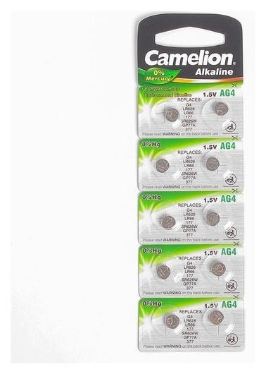 Батарейка алкалиновая Camelion Mercury Free, AG4 (377, Lr626)-10bl, 1.5в, блистер, 10 шт.  Camelion