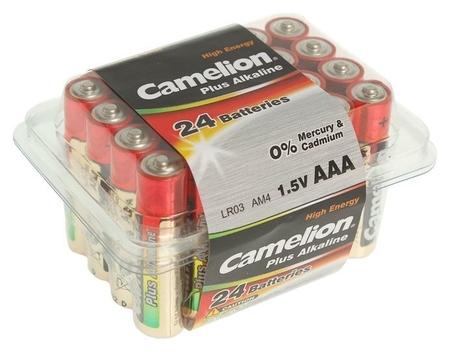 Батарейка алкалиновая Camelion Plus Alkaline, Aaa, Lr03-24box (Lr03-pb24), 1.5в, набор 24 шт.  Camelion