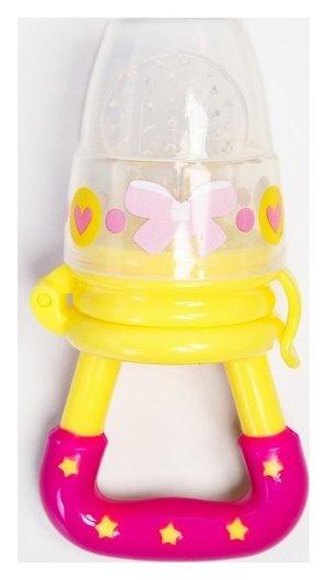 Ниблер «Модница», с силиконовой сеточкой, цвет жёлтый/розовый  Mum&baby