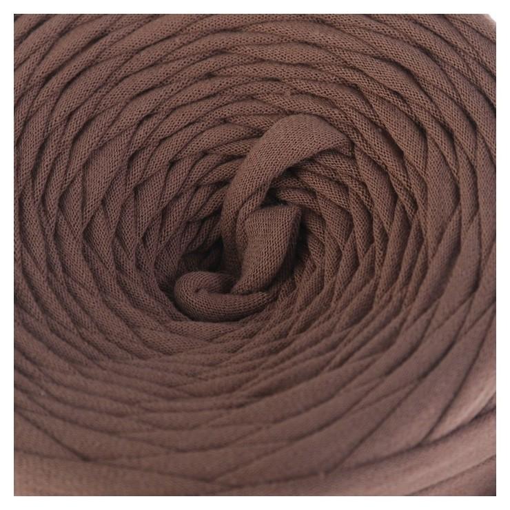 Пряжа трикотажная широкая 50м/170гр, ширина нити 7-8 мм (Какао.)  Елена и Ко