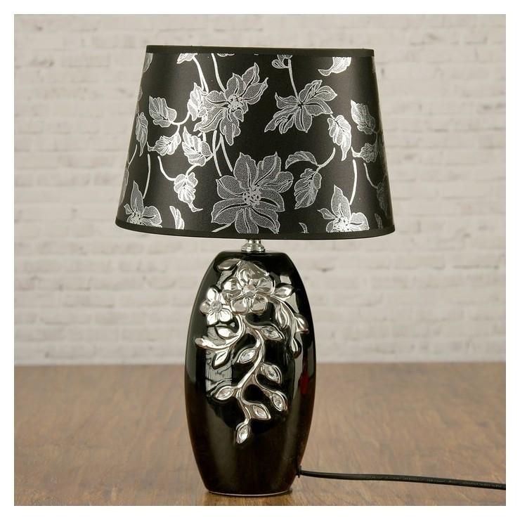 """Лампа настольная с абажуром Е14 40 Вт """"Серебристые цветы на чёрном"""" стразы 38х17х23 см  КНР"""