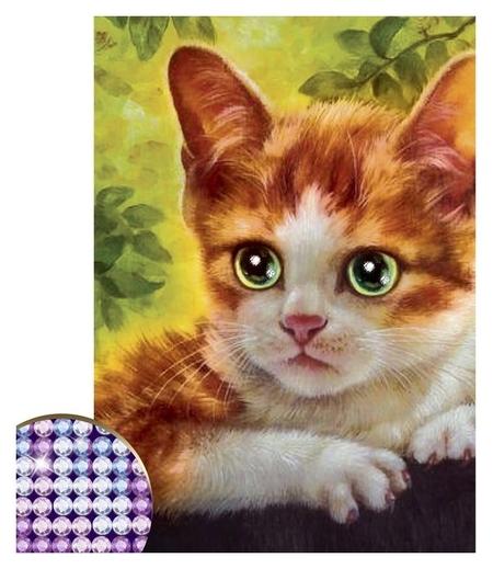 Алмазная вышивка с частичным заполнением «Котёнок», 15 х 21 см. набор для творчества  Школа талантов