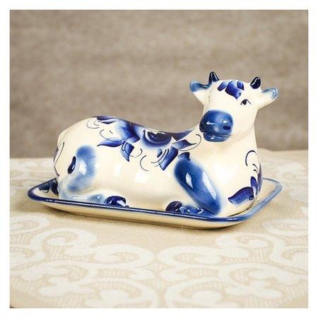 """Маслёнка """"Корова"""", символ года 2021, роспись, 18 см  Керамика ручной работы"""