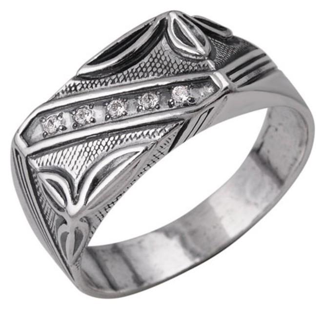 """Кольцо посеребрение с оксидированием """"Перстень"""" мужской с рельефным рисунком, 19,5 размер  Красная пресня"""