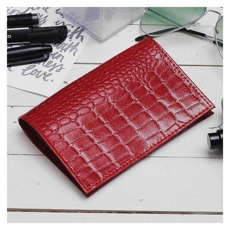 Обложка для паспорта, крокодил, цвет красный  Cayman