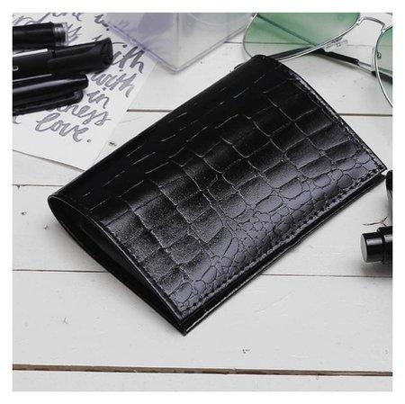 Обложка для паспорта, крокодил, цвет чёрный  Cayman