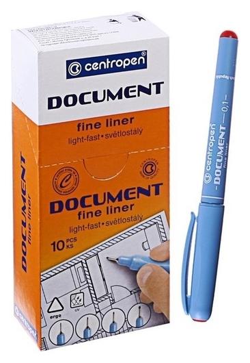 """Ручка капиллярная Centropen """"Document"""" 2631, 0,1 мм, длина письма 500 м, красная  Centropen"""