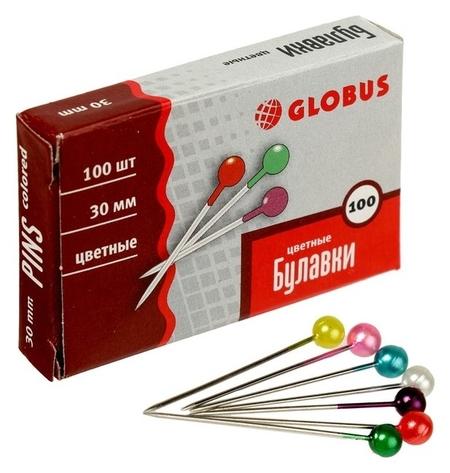 Булавки с цветной головкой Globus, 100 шт., 30 мм  Globus