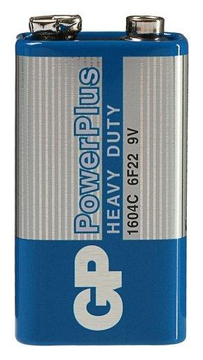 Батарейка солевая GP Powerplus Heavy Duty, 6f22 (1604c)-1s, 9В, крона, спайка, 1 шт.  GР