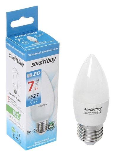 Лампа Cветодиодная Smartbuy, C37, E27, 7 Вт, 6000 К, холодный белый свет  Smartbuy