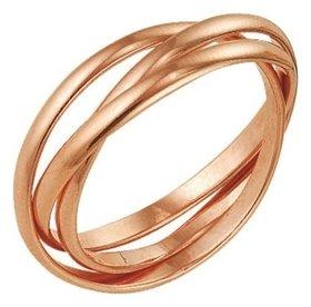 """Кольцо позолота """"Три нити"""", 17,5 размер  Красная пресня"""