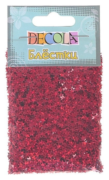 Декор блёстки ЗХК Decola 0.4 мм, 20 г, «Звёзды», красный радужный  Невская палитра