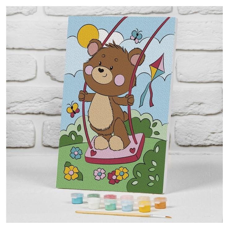 Картина по номерам на подрамнике «Медвежонок на качели» 20×30 см Школа талантов