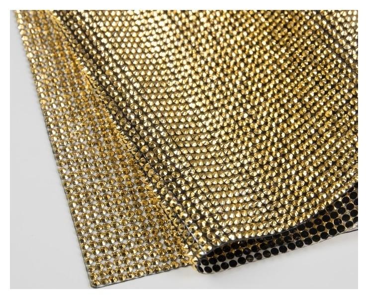Стразы термоклеевые на листе D = 3 мм, 40 × 24 см, цвет золотой  Арт узор