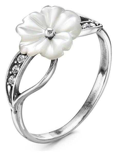 """Кольцо весна """"Цветок"""", посеребрение, цвет белый 17,5 размер  Красная пресня"""