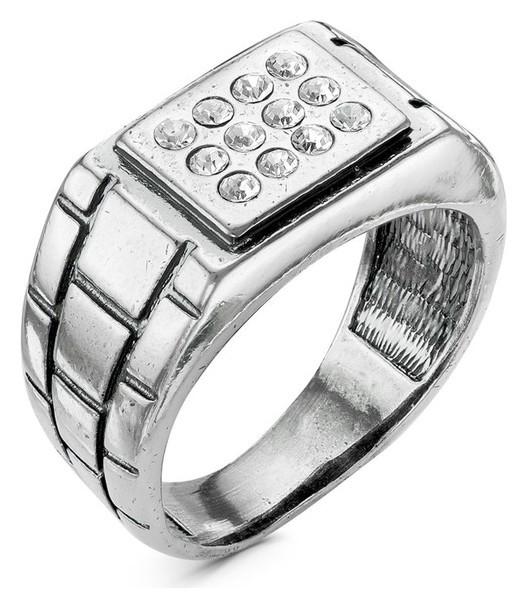 """Кольцо """"Перстень"""" мужской, домино, посеребрение с оксидированием, 22 размер  Красная пресня"""