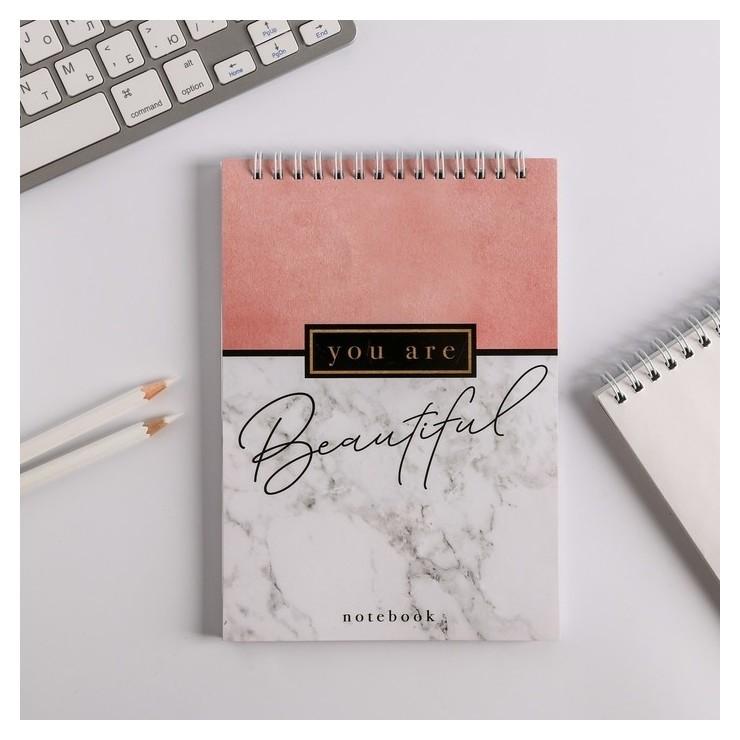 Блокнот You Are Beautiful, на гребне, А5, 40 листов  ArtFox