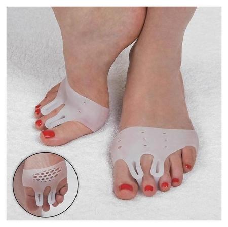 Корректоры для пальцев ног, силиконовые, дышащие, с двумя разделителями, пара, цвет белый  Onlitop